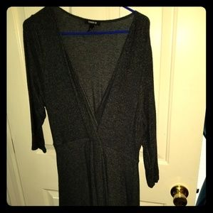 Gray mock wrap dress